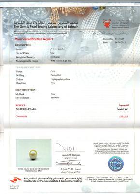 Natural  Basra Pearl Certificate