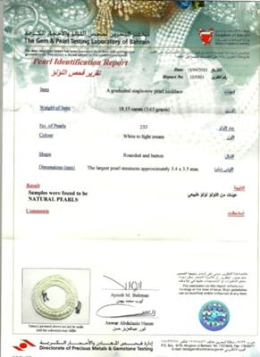 Natural Pearl Necklace Certificate