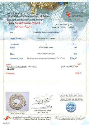 Natural Basra Pearl Necklace Certificate