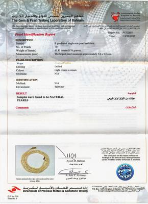Natural Basra Pearl Necklace 43 carats from Persian Gulf