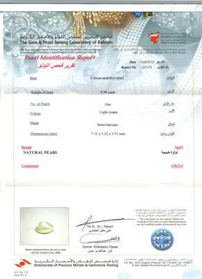 Natural Basra Pearl Pendant  - Certificate