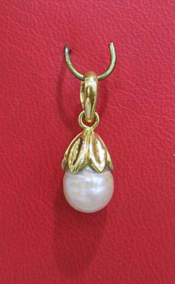 Natural Basra Pearl Pendant Circled Drop on 18k Gold for Sale