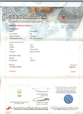 Natural Basra Pearl Pendant Necklace with Diamonds Certificate