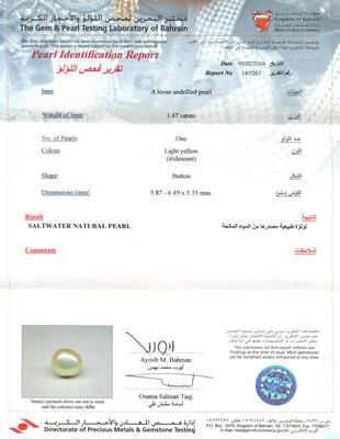 Natural Basra Pearl Pendant with Diamonds Certificate
