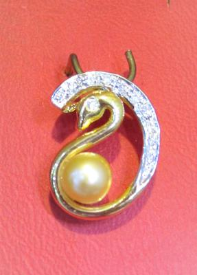 Natural Basra Pearl Pendant with Diamonds and Yellow Gold