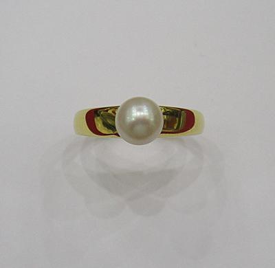 Natural Basra Pearl Ring 1+ carat 18k Gold