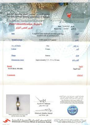 Natural Basra Pearl Ring Certificate