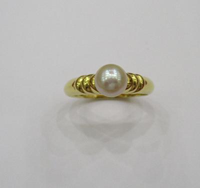 Natural Basra Pearl Ring 2+cts on 18k Gold