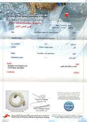Natural Basra Pearl Single Strand Necklace Certificate