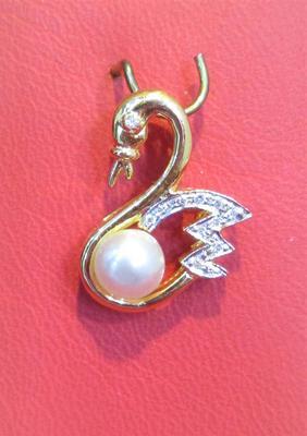 Natural Basra Pearl Swan Pendant with Diamonds
