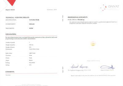 Certificate Natural Basra Pearl Swan Pendant with Diamonds