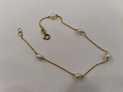 Natural Basra Pearls Bracelet Five 3mm Pearls on 18k Gold