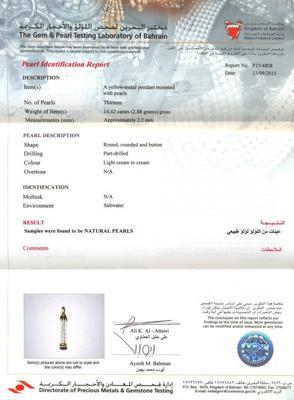 Natural Basra Pearls in a Glass Tube - Certificate