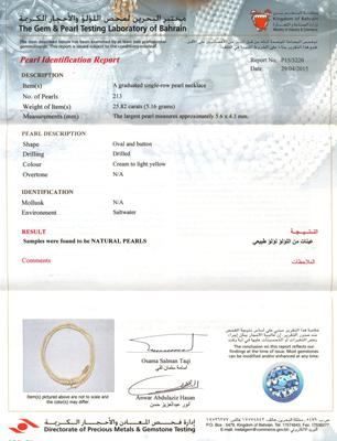 Natural Basra Pearls in a Lovely Strand Certificate