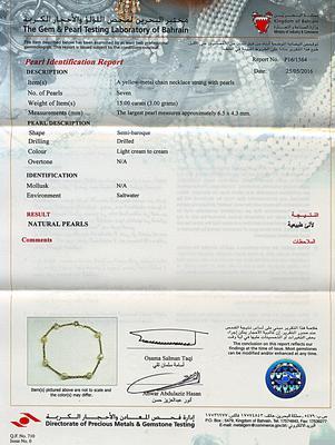 Natural Basra Persian Gulf Pearl Bracelet on 18k Gold - Certificate