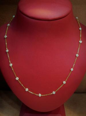 Natural Basra Persian Gulf Pearl Necklace on 21k Gold