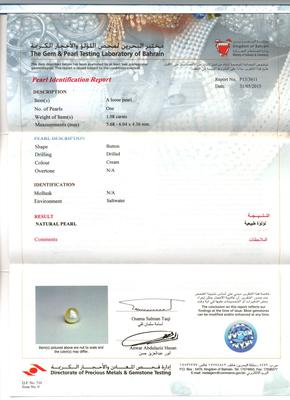 Natural Basra Single Pearl Certificate