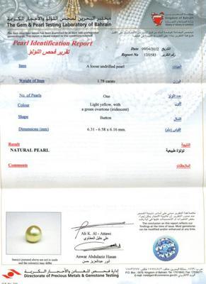 Natural Iridescent Basra Pearl 1.78 carat Certificate