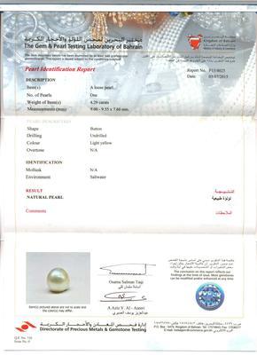 4.29 carat Basra Pearl - certificate
