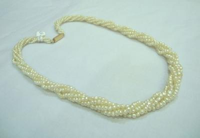 5 Strand Natural Pearl Necklace