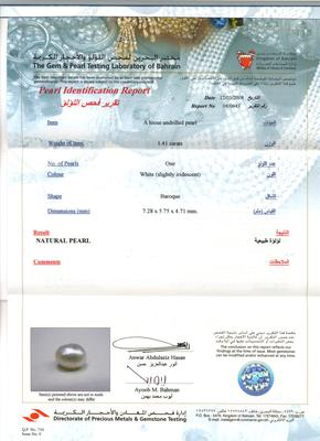 Natural Pearl Necklace With Diamonds  - Certificate