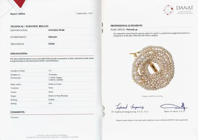Certificate - Natural Pearls Necklace 18 inches long 52 carats