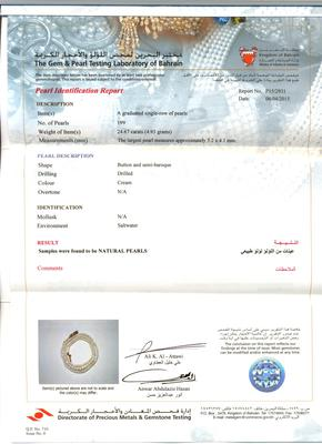 Natural Persian Gulf Pearl Necklace - certificate