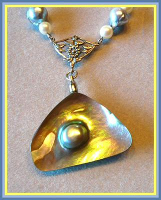 Natural Red Abalone Blister Pearl Necklace