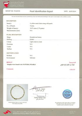 Certificate - Natural Pearl Necklace of 18.97 carats