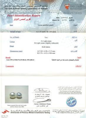 Certificate for Pair Natural Basra Pearls  2+carats