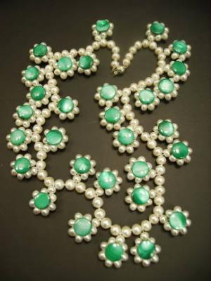 Pearl and Emerald Colored Mother of Pearl Necklace by KariPearls