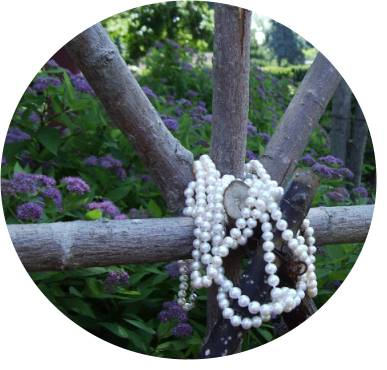 white pearls on latticework