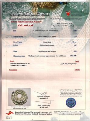 Bahrain pearl lab certificate