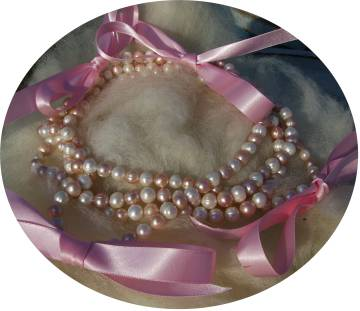 pearls with ribbons