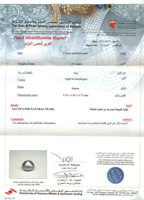 Black Basra pearl certificate