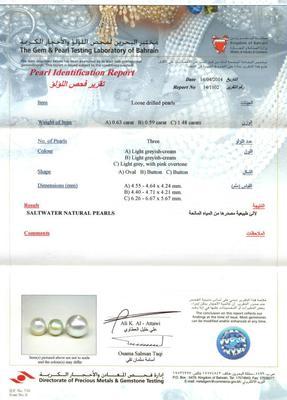 Salt Water Natural Pearl Necklace 2.70 Carat Certificate
