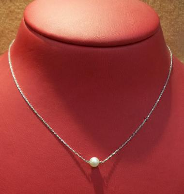 Single Natural Basra Pearl Necklace on 18K Gold