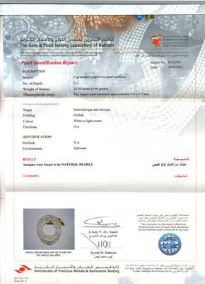 Strand of Lovely and Rare Basra Pearls - Certificate