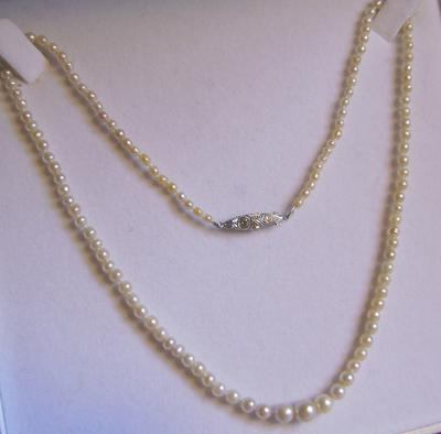 Vintage Art Deco Natural Saltwater Pearl Diamond Clasp Necklace
