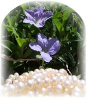 White pearls with periwinkles
